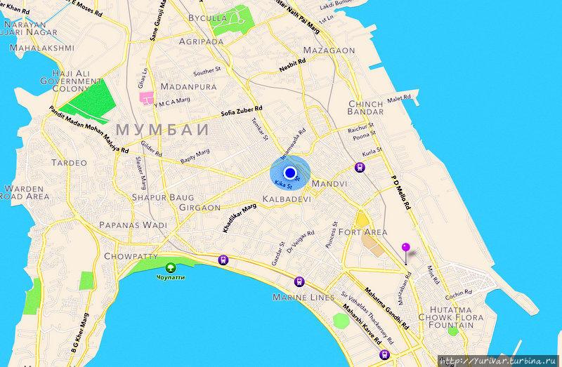 Голубая пульсирующая точка показывает наше текущее местоположение на местности. А
