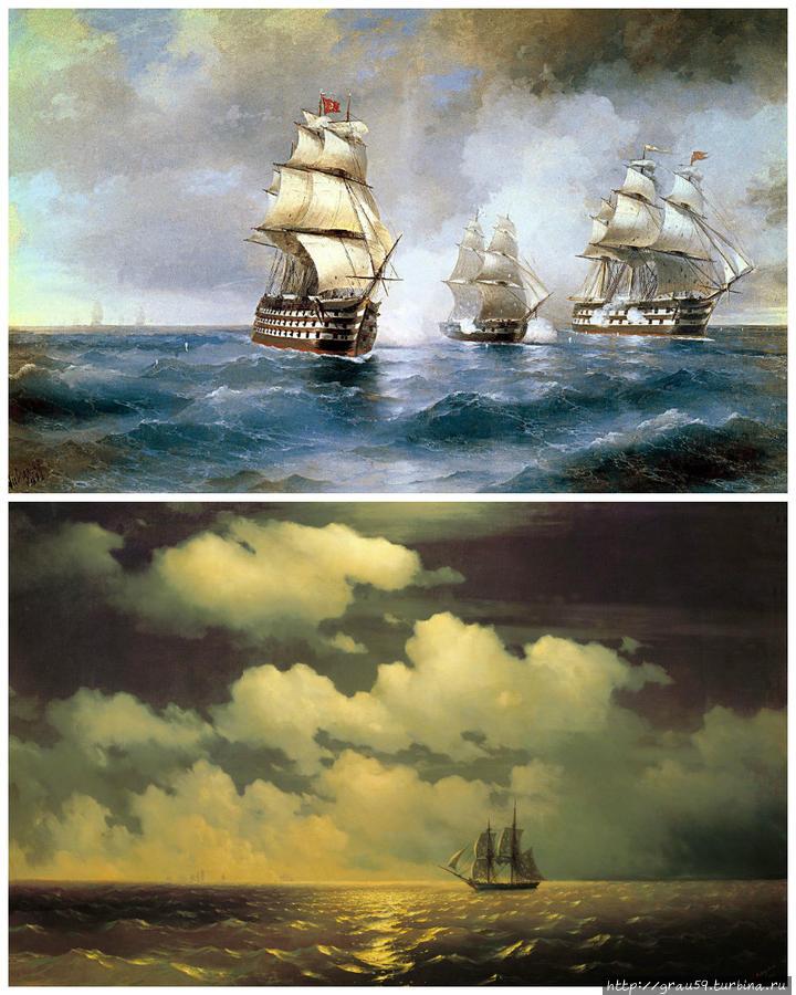 Картины Ивана Айвазовского : Бриг «Меркурий», атакованный двумя турецкими кораблями (1892) и Бриг «Меркурий» после победы над двумя турецкими кораблями встречается с русской эскадрой (1848)