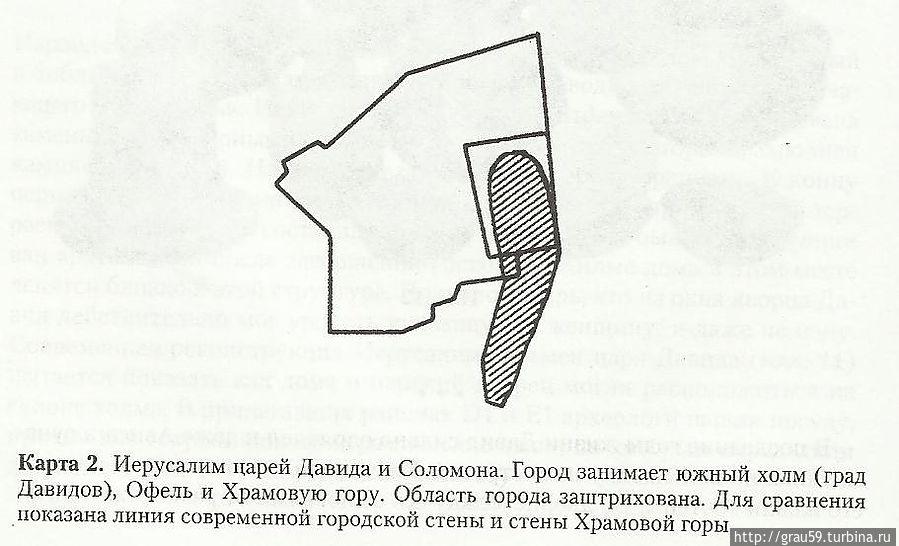 Схематическая карта Иерусалима при Давиде и сыне егог Соломоне