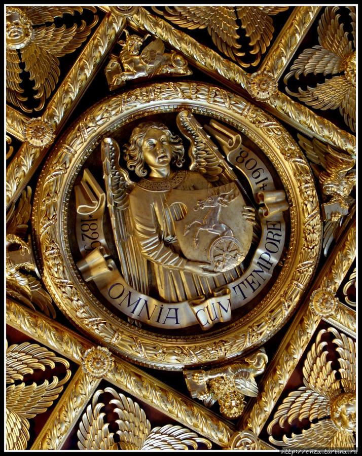 Потолок Золотого зала копирует потолок Ангельского зала венецианской Академии изящных искусств. Здесь вырезано 138 ангелов с не повторяющимися выражениями лиц. В центре — герб Пальфи и их девиз, который можно перевести как