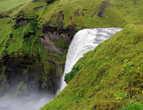 Вид на водопад Скоугафосс с верхней смотровой площадки
