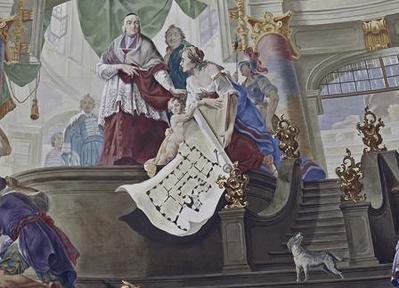 Часть фрески парадного зала, где изображен сам епископ (фото из интернета)