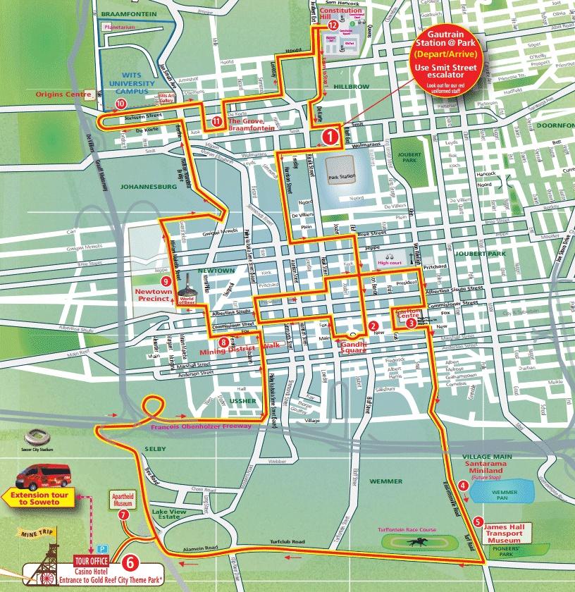 Карта маршрута Йоханнесбург, ЮАР