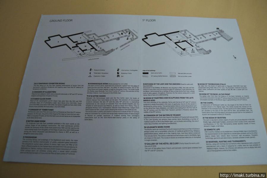 План первого и второго этажей музея Клюни. Дамы с единорогами в зале № 13.