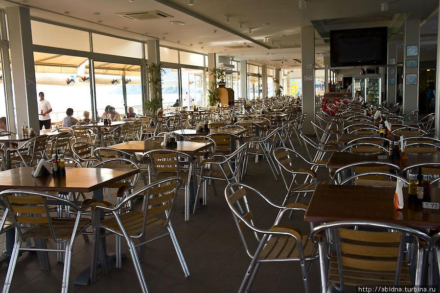 Один из ресторанов. Внутри. Весь народ — снаружи, на свежем воздухе!