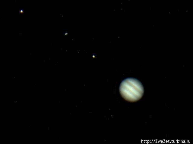 Юпитер и галилеевские спутники в телескоп