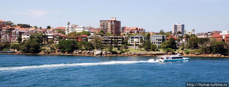 Частная застройка на берегу залива Сидней, Австралия
