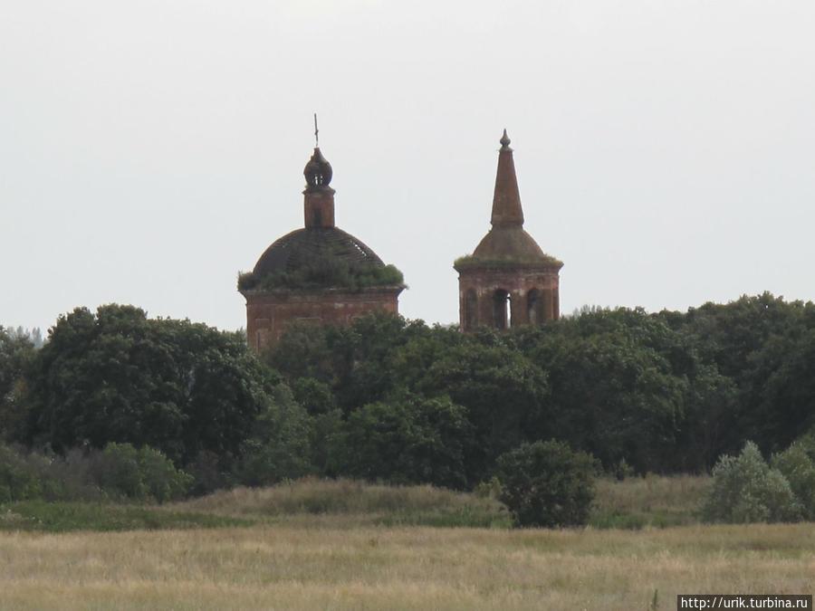 Церковь проглядывает через верхушки деревьев на подъезде к селу. Ключевка, Россия