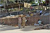 Вот так на голове индийские женщины всегда носят все тяжести. В данный момент они несут большие камни-кирпичи... *