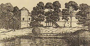 Гольшанский замок. Рисунок Я. Дроздовича (1920-1930-е гг.). Часть северо-западного фасада и Северная угловой башня.