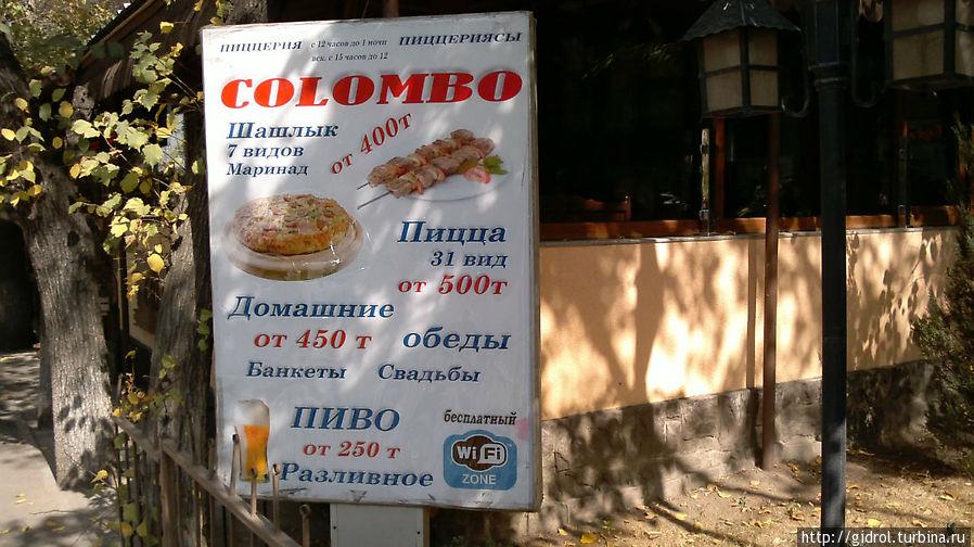 Примерные цены в кафе.