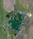 Маршрут вокруг озера Миватн — А — Рейкъяхлид; В — Северная голубая лагуна; С — Лавовый комплекс Димуборгум; D — поворот на Север; Е — Псевдократеры Скутустадагигар