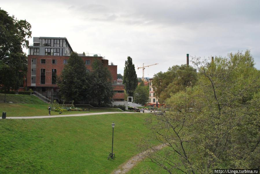 Слева — здание академии архитектуры и дизайна