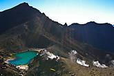 Изумрудные озера и фумаролы на склоне вулкана.