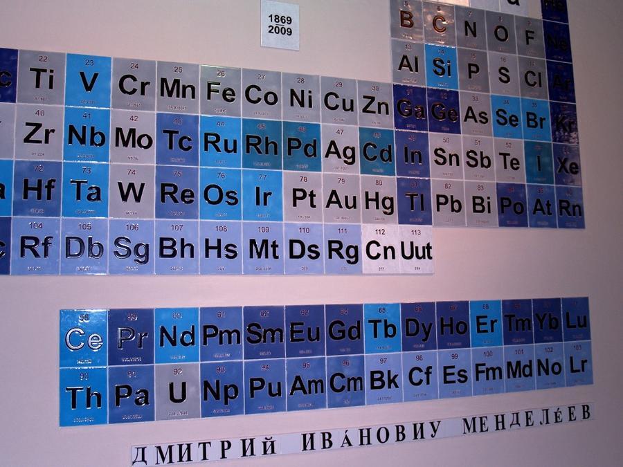Таблица Менделеева в корридоре исторического здания Национального Университета Кордовы