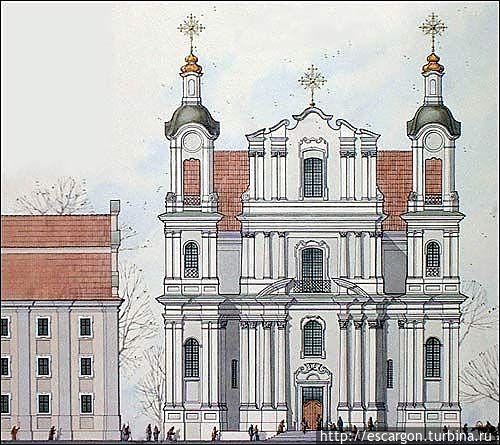 Реконструкция Успенской церкви XVIII века архитекторов И. Ратько, А. Михайлюкова. Главный фасад. (Изображение с сайта http://www.radzima.org)