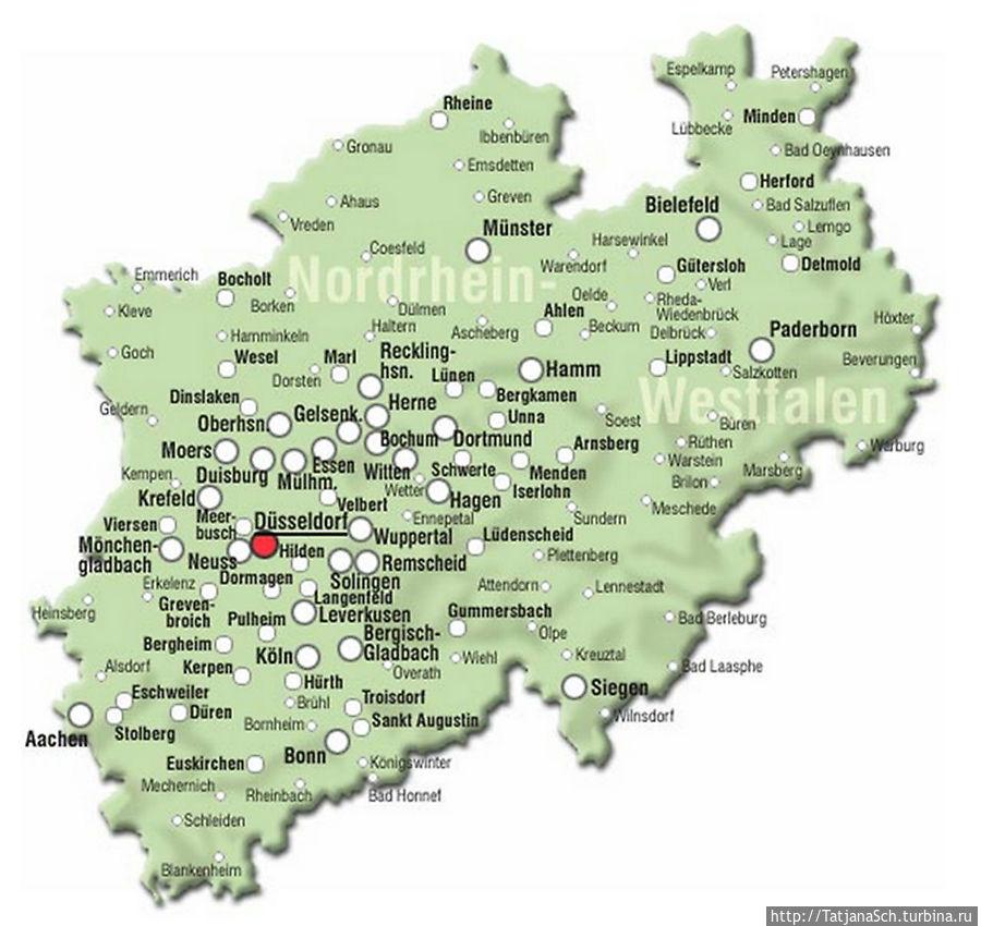 Карта земли NRW — Северный Рейн — Вестфалия.