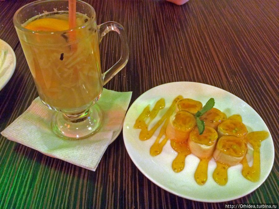 имбирный чай с блинчиками