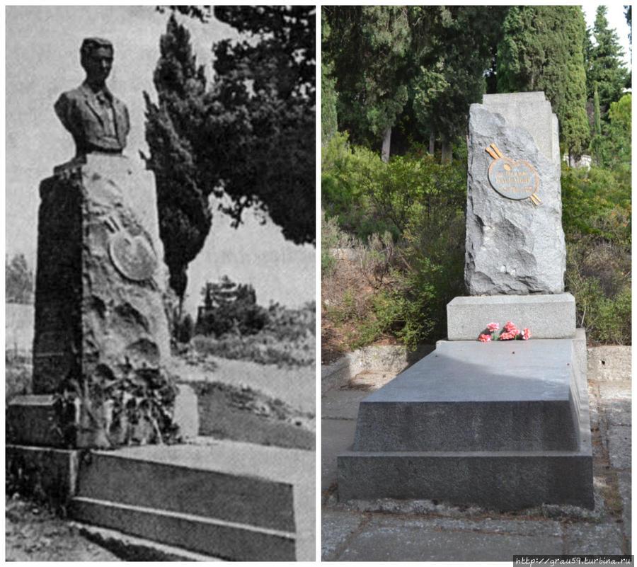 Бюст на могиле после 1963 года и постамент без бюста в наше время