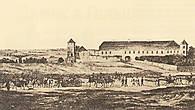 Гольшанский замок. Художник А. Адам. 1812 Северо-восточный фасад.