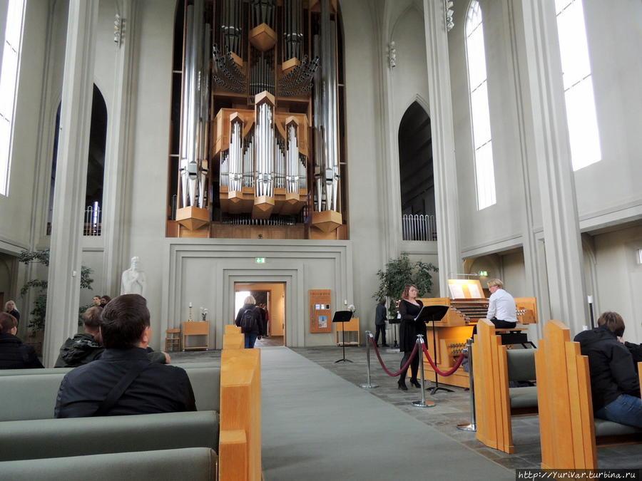 Интерьер церкви Хатльгримскиркья Рейкьявик, Исландия