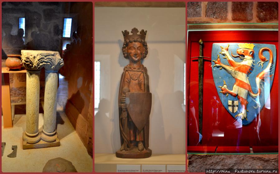В центре фигура ландграфа тюрингенского Генриха IV Распе. Он умер здесь, в Вартбурге, после ранения.  Рядом Щит и меч Конрада Тюрингского, также известного как Конрад Распе.