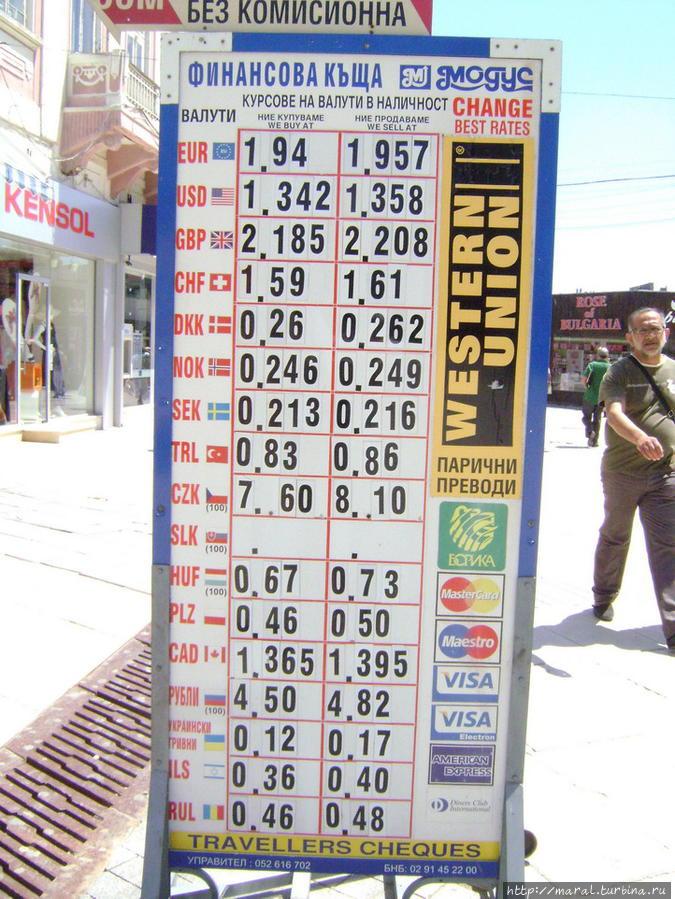 Курс покупки и продажи валюты в Варне