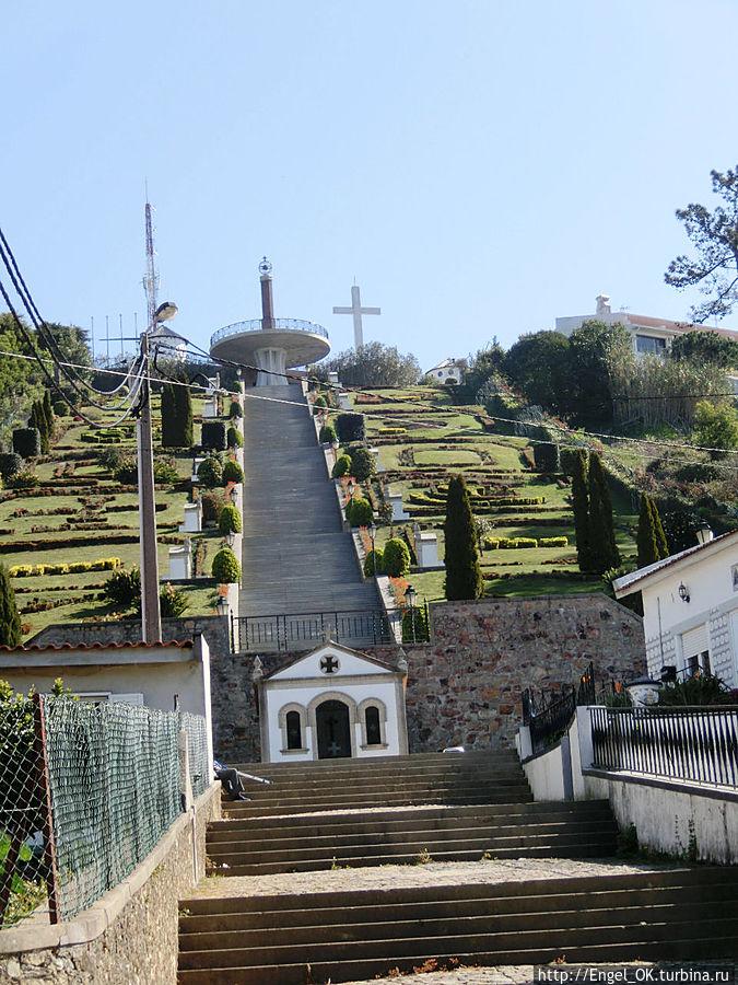 лестница к отелю с садом (отель справа)