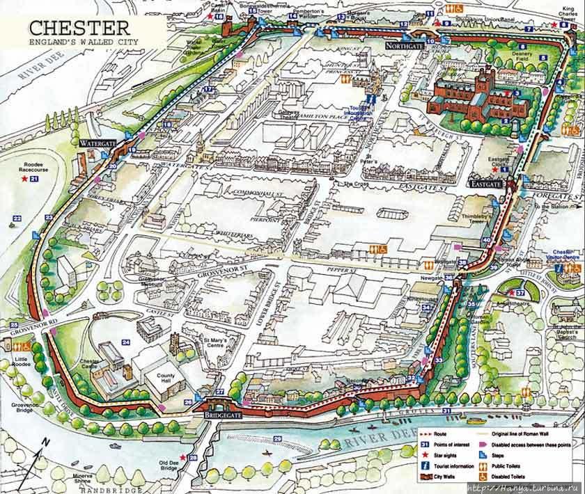 План городской стены Чест