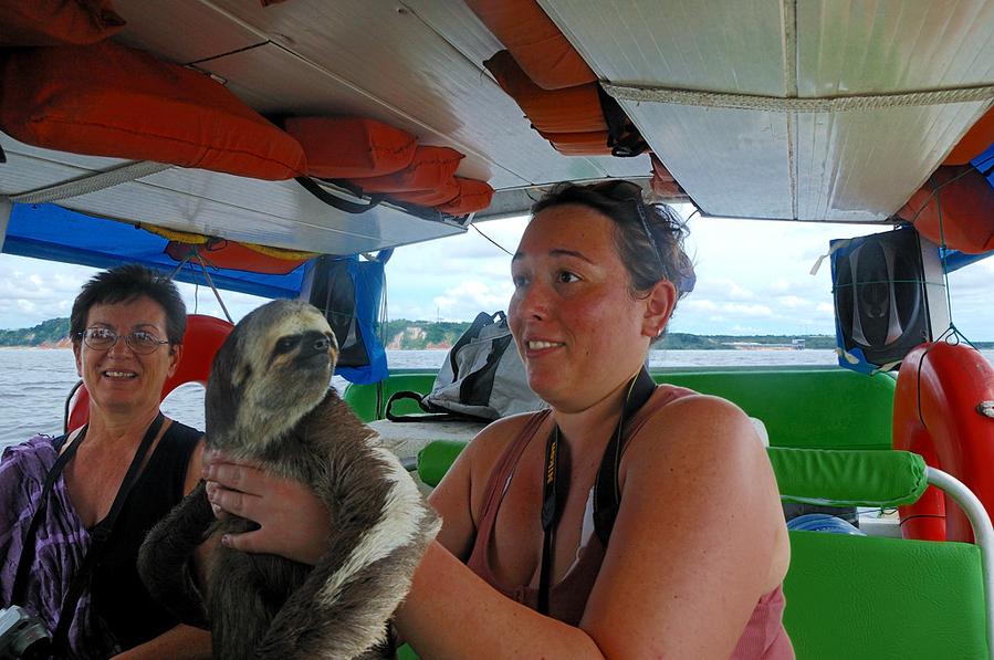 Местные пацаны подплывают на лодках и дают подержать ленивца