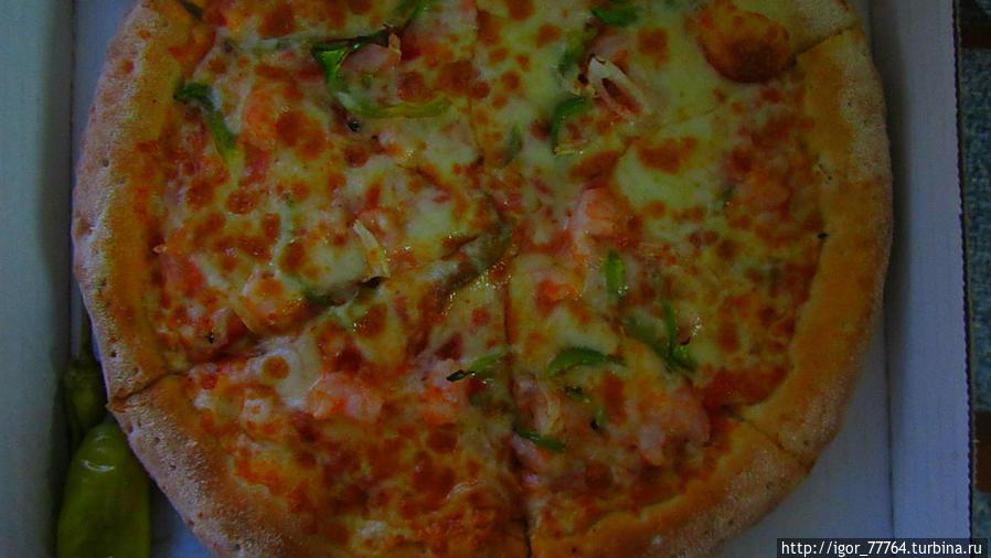 Средняя пица с морепродуктами за 39 дрх.