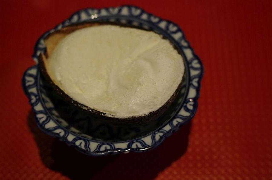 Riz au lait, noix de coco et raisins