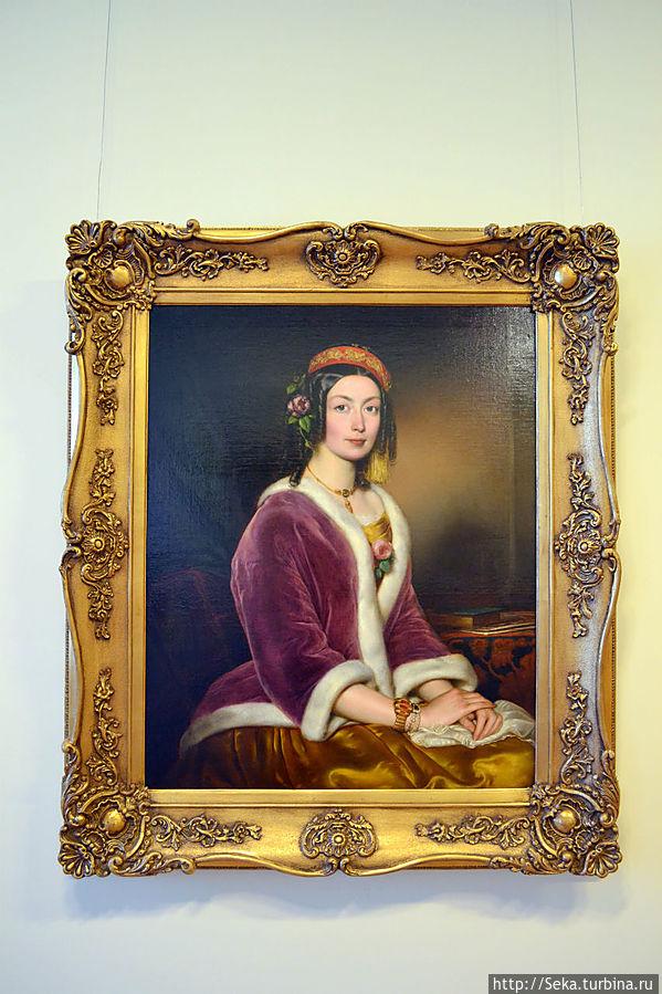 Йожеф Борсос. Портрет женщины в бархатной шубке, с.1850.