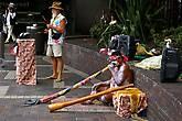 Разукрашенные аборигены играют на дудках-диджериду для туристов на главном Арбате города (Circular Quay). Надо отдать должное, играют отменно. Помня о своем опыте стритования, я так же оставил свое пожертвование в шляпе музыкантов.