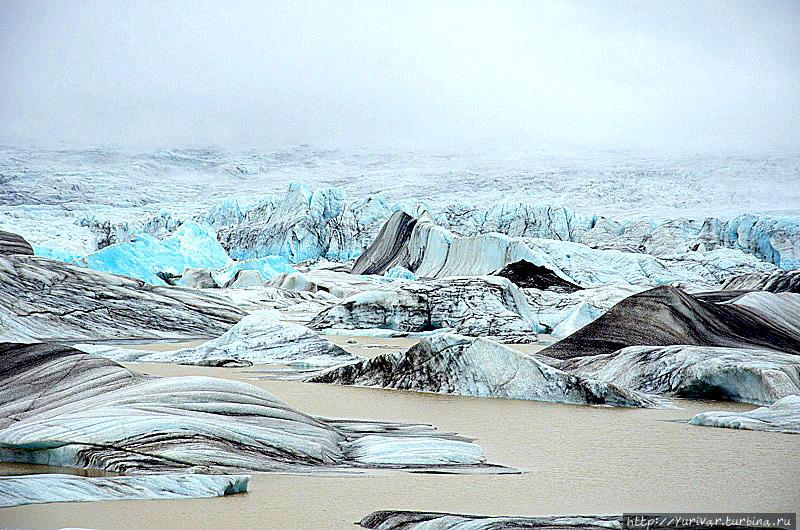 Ледовое озеро под ледником Ватнайокюль Хёфн, Исландия