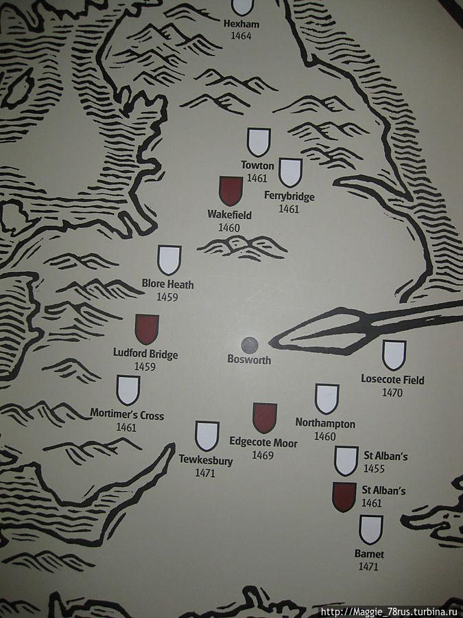 Места сражений в войне белой и алой роз. У Йорков 11 побед, у Ланкастеров 4