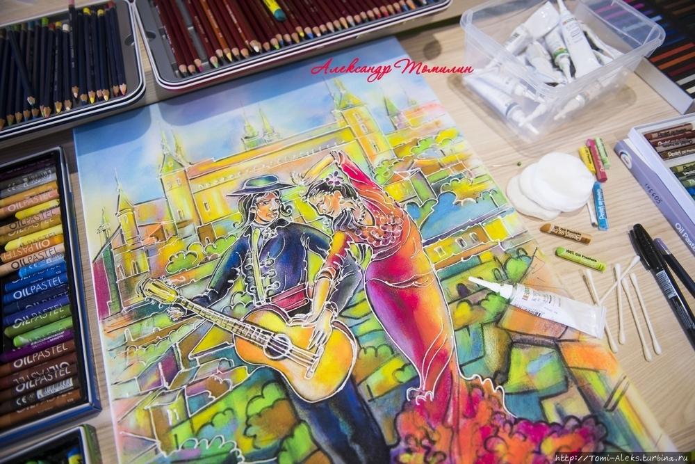 Фламенко на фоне Алькасара (Тревел-истории художника) Севилья, Испания