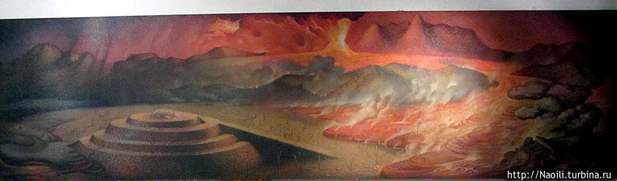 Так мексиканский художник изобразил Хорхе Камарена изобразил извержение вулкана.