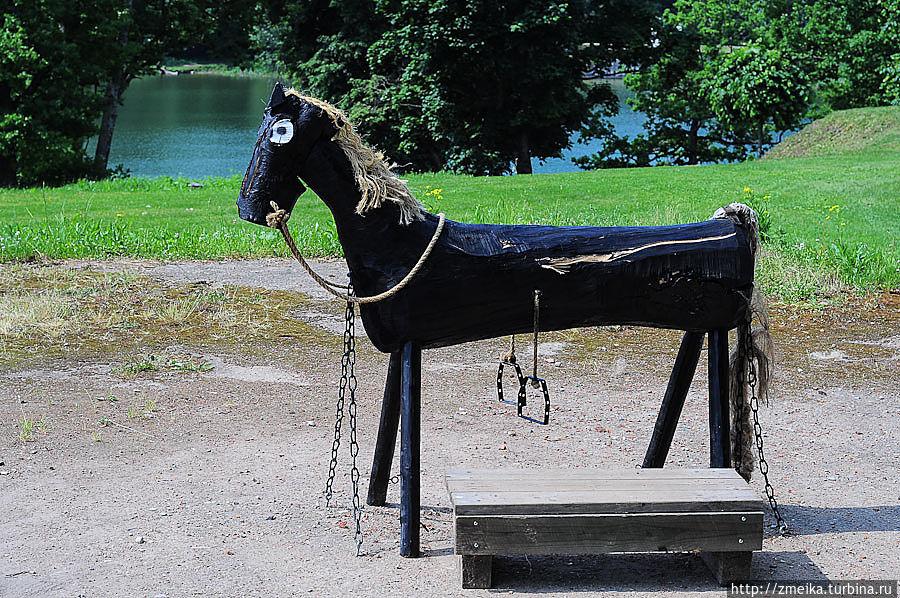 С этим чёрным коняшкой связана целая легенда!  Когда-то давно-давно, когда озеро было ещё большим и глубоким, трое мальчишек пошли играть в парк к озеру. Вскоре рядом с ними появилась маленькая чёрная лошадка, она была очень дружелюбная. Сначала мальчики опасались, но потом стали её гладить. Лошадка трясла головой, будто бы приглашала их сесть себе на спину и покататься. Ребятам понравилась лошадь и вскоре они уже сидели на её спине. Лошадь начала бегать, но вдруг быстро-быстро поскакала к озеру.  Когда она уже почти хотела прыгнуть в воду, старший мальчик вспомнил, что рассказывала ему бабушка о коварных русалках и их песнях. Бабушка говорила, что  если чувствуешь