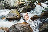 Перерыв после пары часов ходьбы, купание в горной речке:)