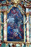 Алтарная картина -Исус-младенец со своей семьей.Мюнхенский художник Бальтазар Август Альбрехт. Картина выполнена в ателье художника в Мюнхене и не совсем гармонирует с общей красочной гаммой.