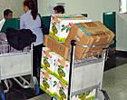 Эти коробки привезла в аэропорт жещина, стоящая за стойкой регистрации. Неужели она всё это в состоянии съесть, а может, в подарок везет. Не хотела бы я получить такой вонючий подарочек...