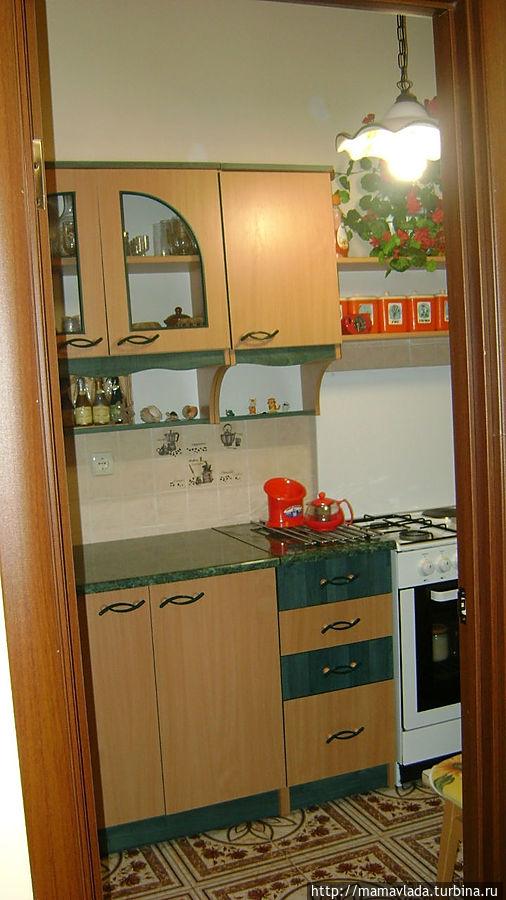 Кухня. Есть вся посуда, кастрюли т сковородки. Из кухни выход на балкон. Плюс в том, что в кухню есть дверь, можно деток вечером уложить и посидеть поговорить )