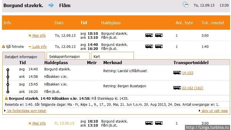 Маршрут из Боргунда во Флом. Из расписания на конкретный день вытекает, что, чтобы посетить достопримечательность, надо успеть к обратному автобусу в 14:40...