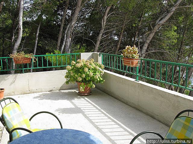 Наш уголок террасы (наши апартаменты были последними, в углу, поэтому мимо никто не ходил, а за углом еще есть площадка с галькой, уставленная вазонами с цветами и лимонными деревьями)
