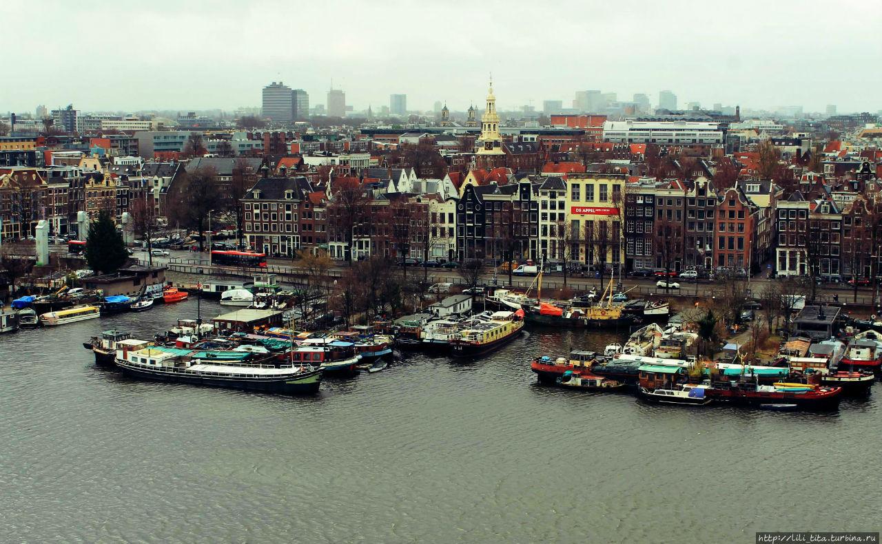 Вид на Амстердам с седьмого этажа библиотеки.