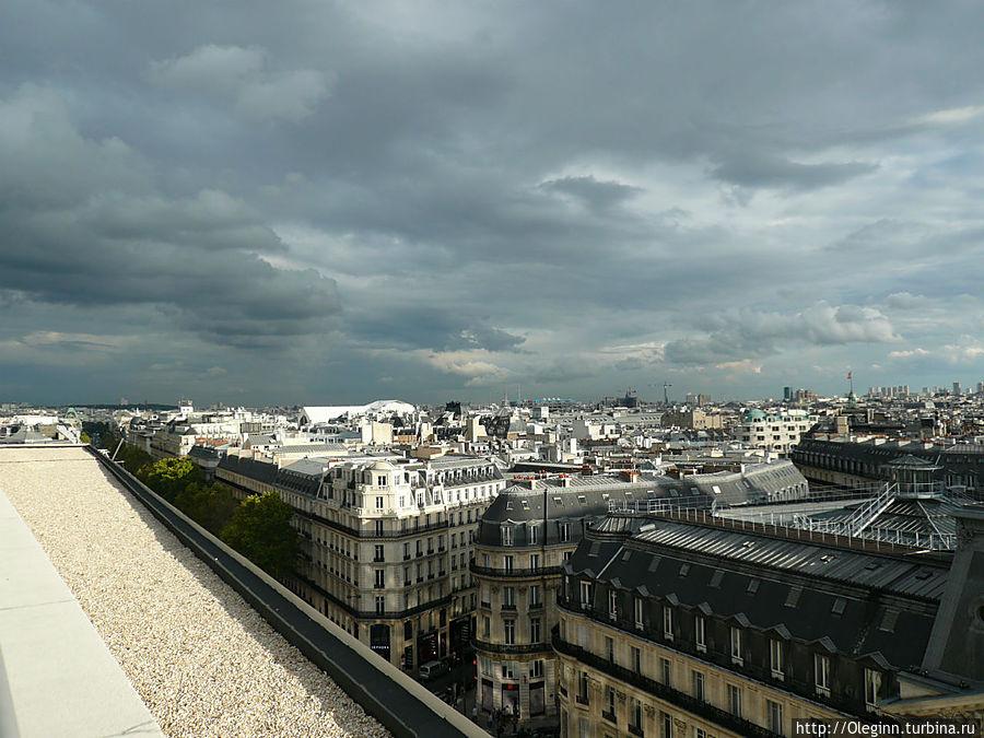 Вид на город с террассы галереи Лафайет Париж, Франция