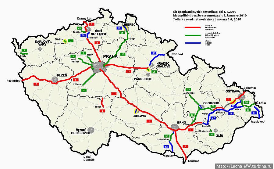 Карта платных дорог Чехии
