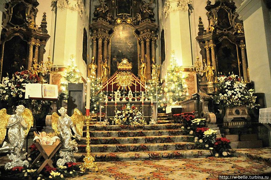 Собор украшен замечательными картинами и лепниной, в правом нефе захоронены мощи св. Руперта.