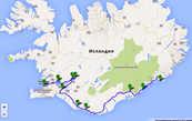 План маршрута на первые три дня: А — Рейкъявик; В — геологический разлом; С — долина гейзеров; D — водопад Гюдльфосс; E — кратер Керид; F — водопад Селйяландсфосс; G — водопад Скоугафосс; H — ледовая долина Скафтафетль; I — озеро Йокулсарлон; J — городок Хёфн
